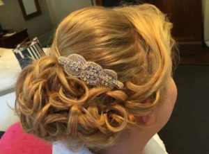 Updo with extensions, bridal hair