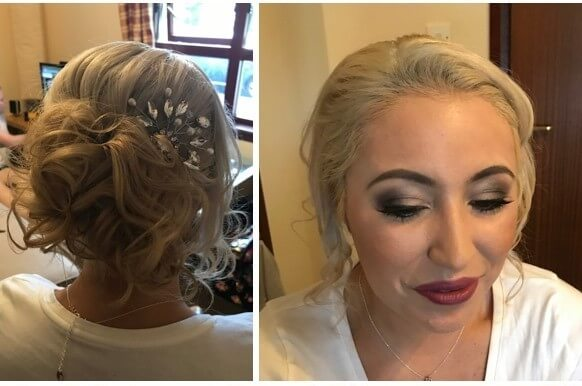 Girl with bridesmaid hair and makeup