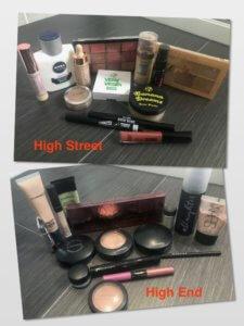 High street makeup brands and high end makeup brands